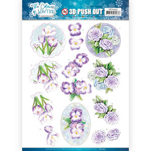 SB10493 3D Push Out - Jeanine's Art - The colours of winter - Purple winter flowers