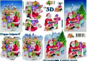 3D knipvel Le Suh 4169.539 Kerstman met kinderen A4