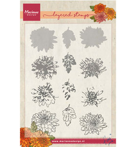 TC0858 - Marianne Design - Clear Stamp - Tinys Chrysant - Layering
