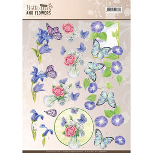 CD11000 – 3D Knipvel - Jeanine's Art - Classic Butterflies and Flowers - Blue Flowers