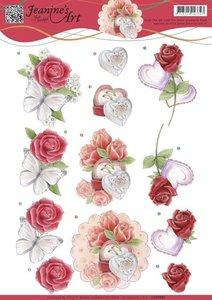 CD10981 - 3D knipvel Jeanine's Art - Roses and Hearts