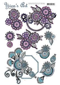 CD11034 - 3D knipvel - Yvon's Art - Factory Flowery