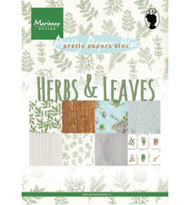 PK9152 -  Marianne Design - Pretty Papers Block - Herbs and Leaves - A5 - 4x8designs