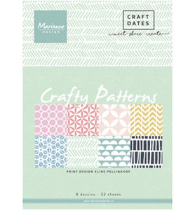 PB7054 -  Marianne Design - Pretty Papers Block - Crafty Patterns - A5 - 4x8designs