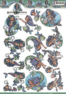 CD11032 - 3D knipvel - Yvonne Creation - Mermaids