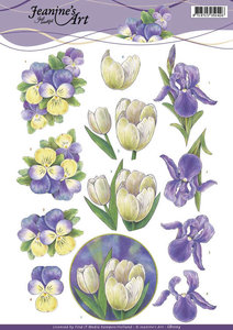 CD11113 - 3D Knipvel - Jeanine's Art - Purple Spring flowers