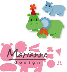 COL1450 - Marianne Design - Collectables - Elines Happy Hippo - 98x67mm