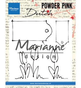 PP2801 - Marianne Design - Clear Stamp - Powder Pink – Tulips and Labels - 83x85mm