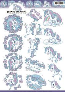 CD11101 - 3D knipvel - Yvonne Creations - Unicorns