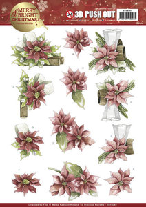 SB10267 - 3D Push Out - Precious Marieke - Merry and Bright Christmas - Poinsettia in Red