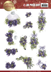 SB10269 - 3D Push Out - Precious Marieke - Merry and Bright Christmas - Bouquets in Purple