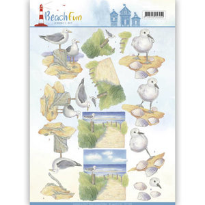 CD11068 - 3D knipvel - Jeanine's Art - Beach Fun - Seagulls