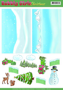 CD11200 – Background Sheets - Yvonne Creations - Bubbly Girls Christmas - 2