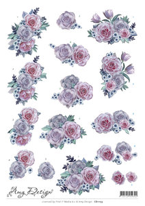 CD11153 - 3D Knipvel - Amy Design - Purple Flowers