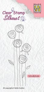 Nellie's Choice Silhouette Clear Stamps bloemen 24 SIL047 33x85mm
