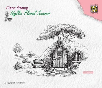 Nellie's Choice Clearstamp - Scene oud huis IFS012 113x70mm