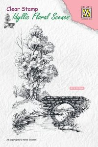 Nellie's Choice Clearstamp - Scene water met brug IFS011 81x112mm