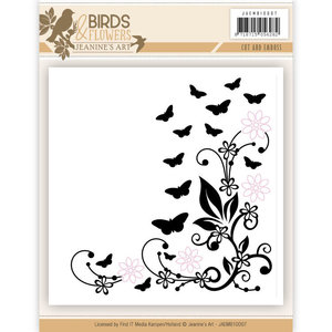 JAEMB10007 Cut and Embossing folder - Jeanine's Art - Birds and Flowers – 12,3x12,3cm