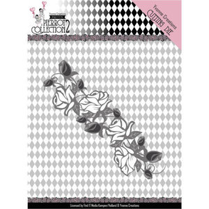 YCD10162 Dies - Yvonne Creations- Pretty Pierrot 2 - Rose Border – 4x12cm