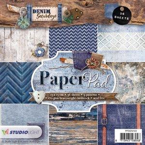 Studio Light Paper pad 36 vel Denim Saturdays nr 103 PPDEN103 15x15cm