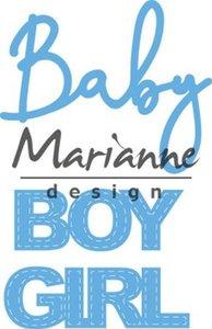Marianne Design Creatable Baby text boy & girl LR0576 11x16 cm