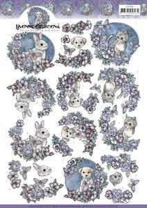 CD11258 3D Knipvel - Yvonne Creations - Purple Flowers