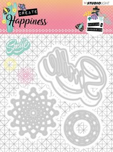Studio Light Embossing Die 104x101 mm Create Happiness nr.157 STENCILCR157