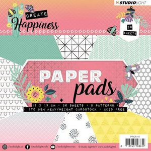 Studio Light Paper Pad 36 vel Create Happiness nr 111 PPCR111 15x15cm