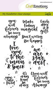 CraftEmotions clearstamps A6 - handletter - happy feelings (Eng) Carla Kamphuis  130501/1815