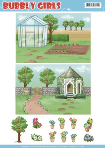 CD11286 Background Sheets - Yvonne Creations - Bubbly Girls - Gardening