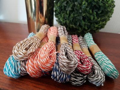 Bakers Twine touw - Assortiment 10 x 10 meter - Dubbel gekleurd - Diverse kleuren