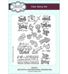 CEC871 Creative Expressions – Clear Stamp Set - Beautiful Destinations Journaling