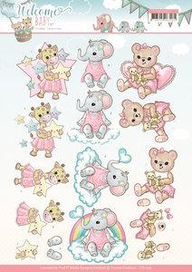 CD11325 3D Knipvel - Yvonne Creations- Welcome Baby - Little Girl