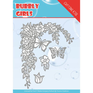 YCD10167 Dies - Yvonne Creations - Bubbly girls- Flower Corner ca. 10,4 x 12,8 cm