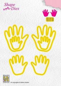 Nellies Choice Shape Die - baby handen SD165 3,8x4,2+2,8x3,1+ 1,9x2,1cm