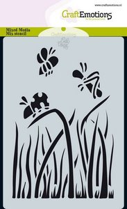 CraftEmotions Mask stencil Bugs - gras A6 Carla Creaties