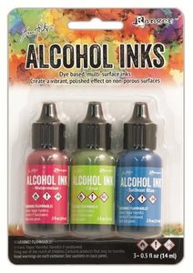 Ranger Alcohol Ink Kits  Dockside Picnic Watermelon,Citrus,.. TAK25962 Tim Holtz 3x15ml