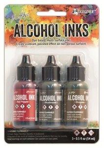 Ranger Alcohol Ink Kits  Tuscan Garden Red Pepper, Mushroom, ..  Tim20707 Tim Holtz 3x15ml