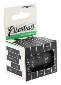 Studio Light Washi tape 5 rls tekst black & white Essentials nr.02 WASHISL02