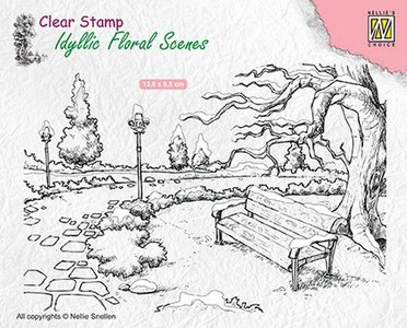 Nellies Choice clearstamp - Idyllic Floral Scenes park met bankje IFS016 138x95mm