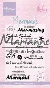 Marianne D Clear Stamps Mermaid sentiments by Marleen (Eng) CS1025 82x117 mm