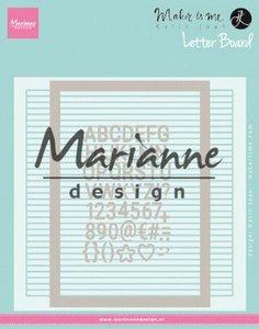 Marianne D Embossing folder Extra Karin Joan's Letter Board DF3454 152x154 mm