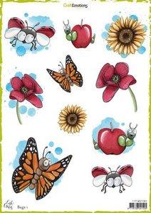 1301 CraftEmotions Decoupage vellen Bugs 1 A4 170 grm Carla Creaties