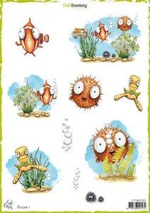 1201 CraftEmotions Decoupage vellen Ocean 1 A4 170 grm Carla Creaties