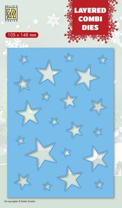 Nellies Choice Layered Combi Die Kerststerren (Layer B) LCDCS002 105x148 mm