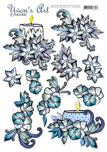 CD11382 3D knipvel - Yvons Art - Blue Candles